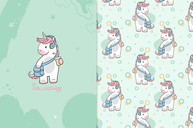 Have a nice day unicorn  pattern Premium Vector