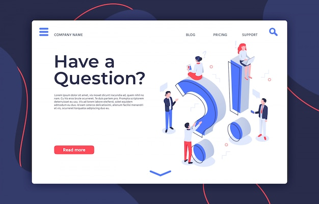 Have question. isometric questioning persons, how to asking and ask questions landing page  illustration