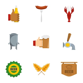 Have a snack icon set, flat style