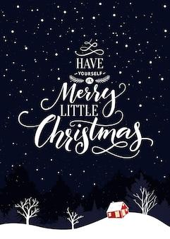 手作りのタイポグラフィが付いた陽気な小さなクリスマス冬休みのポストカードをお持ちください