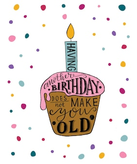 Having another birthday does not make you old text with cupcake and candle as birthday logotype badg