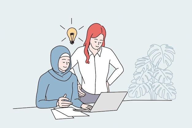 ビジネスアイデアとチームワークの概念を持っている
