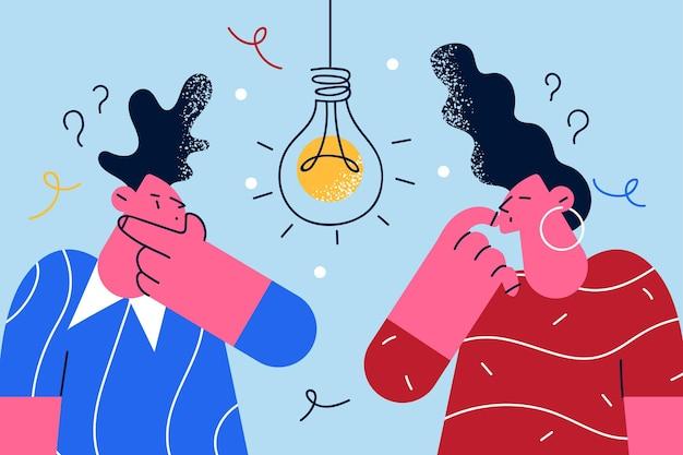 疑問と創造的なアイデアの概念を持っている