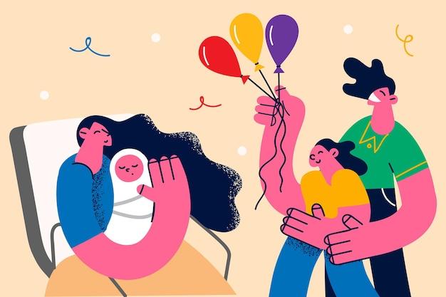 신생아 가족 구성원 개념이 있습니다. 행복한 가족 어머니 아버지와 딸이 다채로운 풍선 벡터 삽화로 어머니 손에 새 회원 유아 유아를 인사합니다.