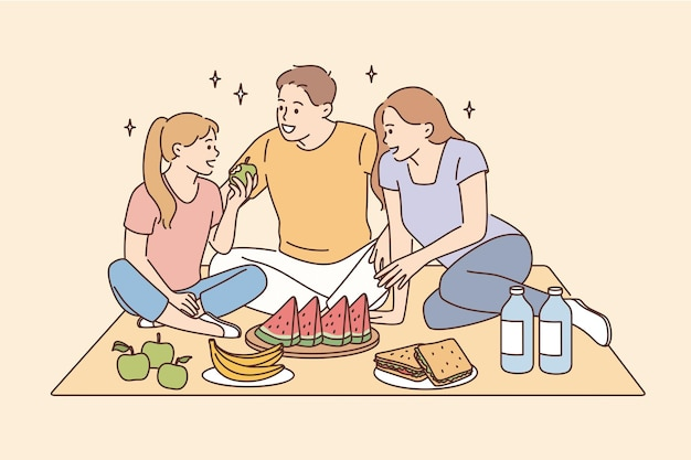 Having picnic and leisure time with family concept. smiling happy family father mother daughter sitting together eating fruits having picnic vector illustration