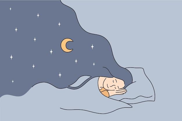 Having sweet dreams at night concept