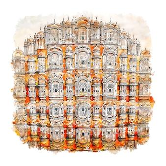 Hawa mahal jaipur india watercolor sketch hand drawn illustration