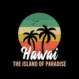 Гавайи фон с пальмами векторный фон пляж летний тропический баннер дизайн рай плакат