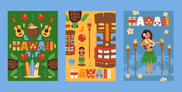 Hawaii banner, beach party invitation, flat style cards with symbols of hawaiian culture,