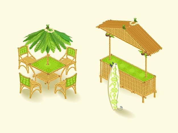 Бар «гавайи», изометрический набор, стиль тростника. иллюстрация