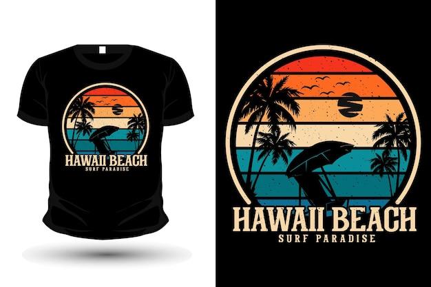 Гавайи пляж серфинг рай товары силуэт макет футболки дизайн
