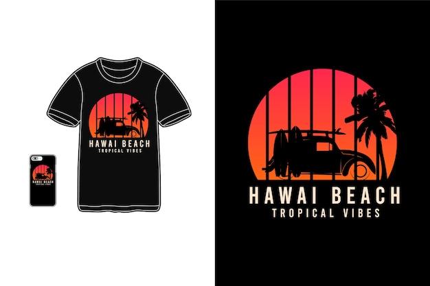 Гавайи, пляж, тропические флюиды, футболки, силуэт, макет, типография