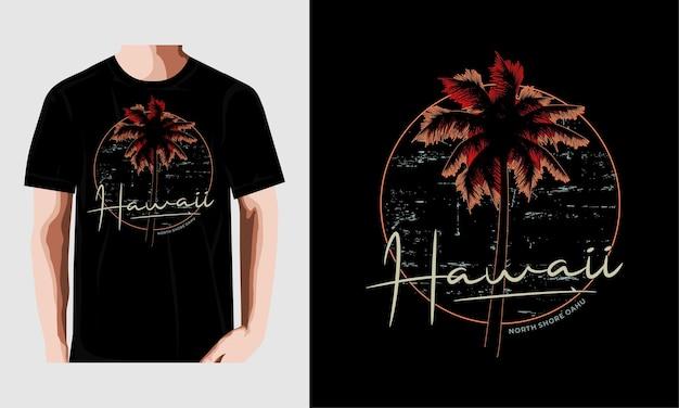 Tシャツデザインのハワイビーチタイポグラフィプレミアムベクトル