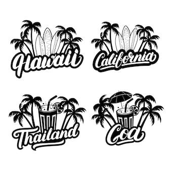 Hawaii, california, goa and thailand hand written lettering text