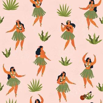 Гавайи танцуют бесшовные модели.