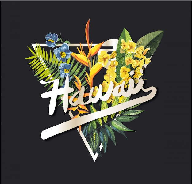 Hawaii graphic slogan with tropical flower