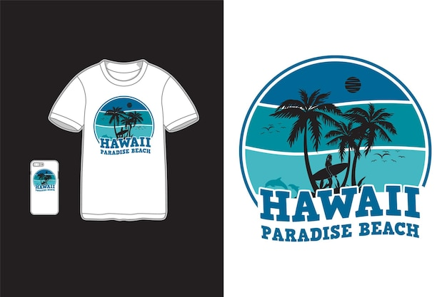 Гавайи райский пляж футболка дизайн силуэт ретро стиль