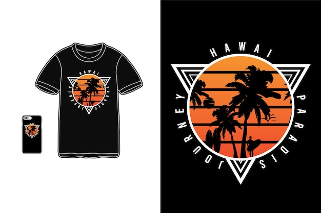 Hawaii paradise journey, t-shirt merchandise mockup