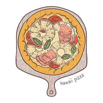 Hawaii pizza, sketching illustration