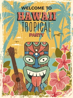 Гавайи постер. летняя танцевальная вечеринка приглашение тики африканские племенные маски иллюстрации