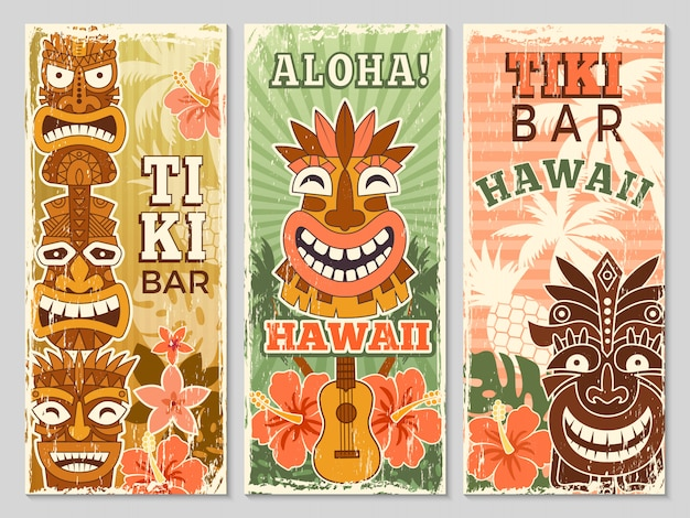 Hawaii retro banners. aloha tourism summer adventure dancing party in tiki bar tribal masks illustrations