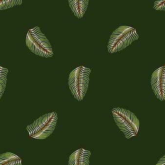 Гавайи бесшовные модели в стиле минимализма с творческими силуэтами листьев папоротника. темно-зеленый фон. графический дизайн оберточной бумаги и текстуры ткани. векторные иллюстрации.