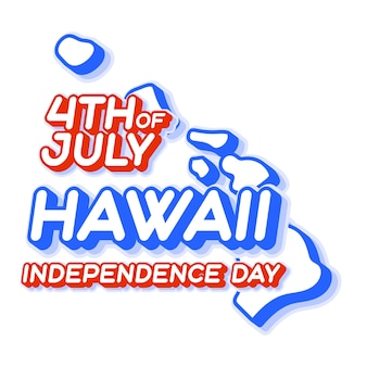Hawaii state 4th of july independence day with map and usa national color 3d shape of us