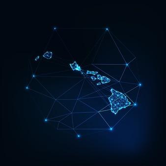 ハワイ州usaマップ星線ドット三角形、低い多角形で作られた輝くシルエットのアウトライン。通信、インターネット技術の概念。ワイヤーフレームの未来