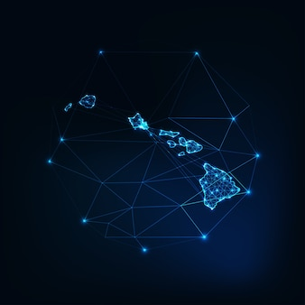 Hawaii state usa map glowing silhouette outline made of stars lines dots triangles, low polygonal shapes. communication, internet technologies concept. wireframe futuristic