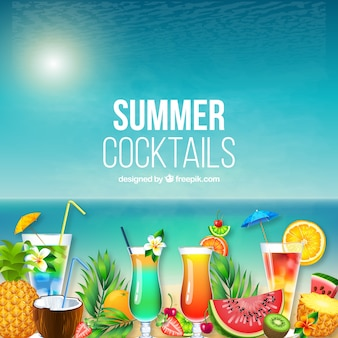 Hawaii summer background with cocktails