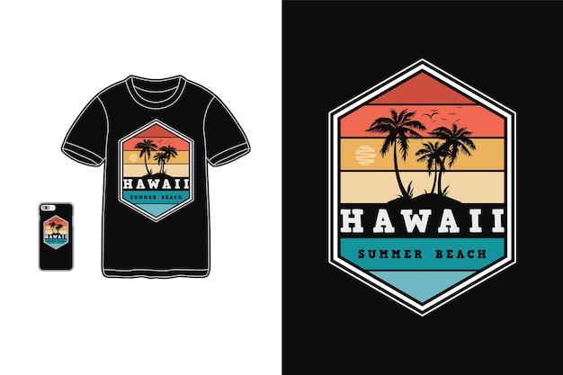 Гавайи летний пляжный дизайн для футболки силуэт в стиле ретро