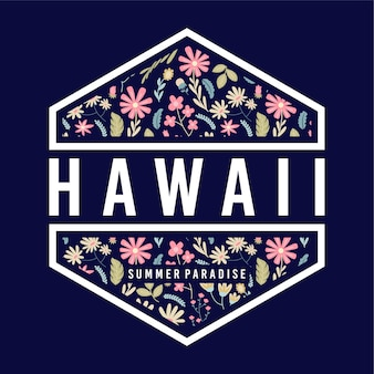 Hawaii summer paradise floral badge