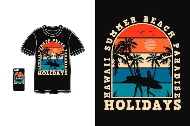 Гавайи летний рай дизайн футболки силуэт в стиле ретро