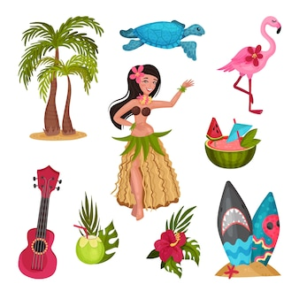 Hawaii symbols set with girl in a traditional costume