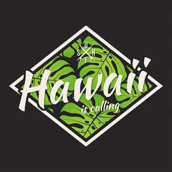Hawaii tee print with with tropical leaves.
