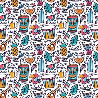 Hawaii tropical element doodle seamless pattern
