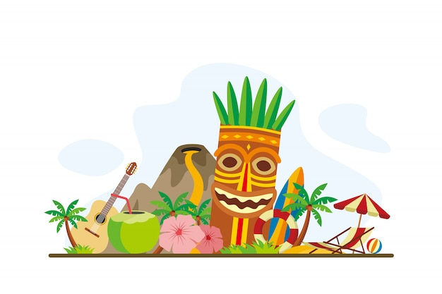 Hawaii tropical island landmarks background
