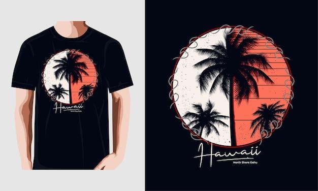 Tシャツデザインのハワイのタイポグラフィプレミアムベクトル