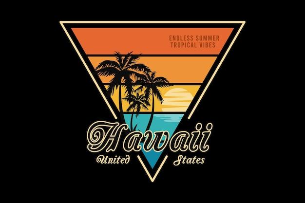 Hawaii united states, design silt retro style