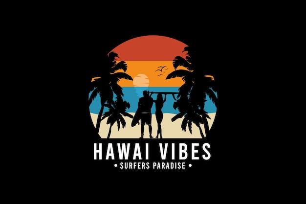 ハワイの雰囲気、レトロなビンテージスタイルの手描きイラスト