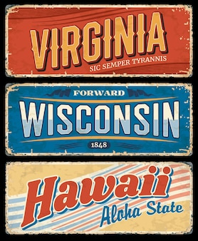 Hawaii, virginia and wisconsin usa state grunge signs