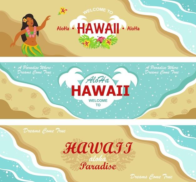 Set di design di intestazione di benvenuto alle hawaii