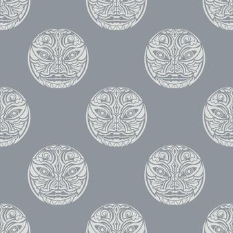 Гавайи деревянный идол шаблон бесшовные векторные повторять геометрические для любого веб-дизайна