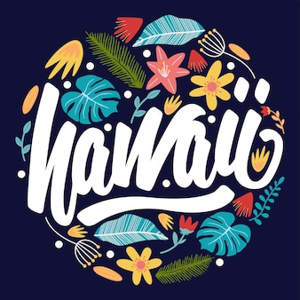 Hawaii надпись цветочный значок
