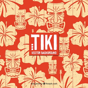 Hawaiian background with flowers and tiki mask