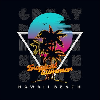 Hawaiian beach typography graphic vector premium vector