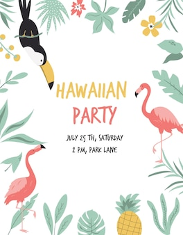 Hawaiian card with toucan, flamingo, flowers and palm leaves. invitation template, banner, card, poster, flyer vector illustration