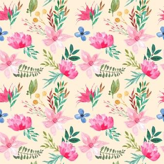 Hawaiian flower pattern watercolor