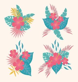 Hawaiian flowers set