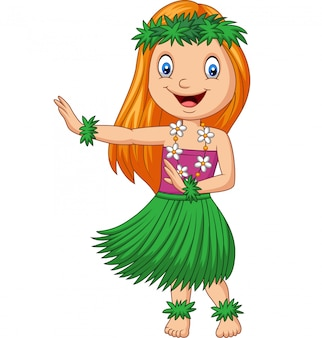 Hawaiian girl dancing hula on white background